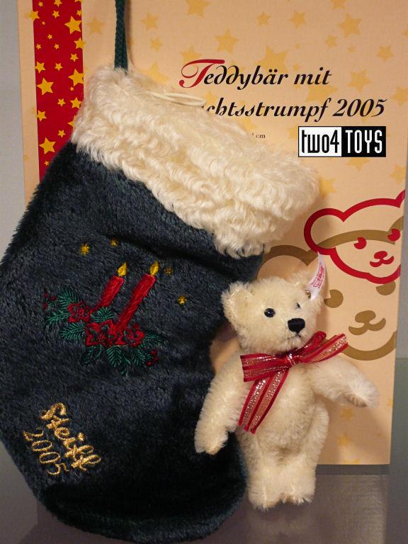 steiff 037641 teddy bear with christmas stocking 2005