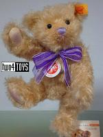 Steiff 001802 CLASSIC TEDDY BEAR WITH VIOLET BOW