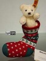 2017 Fall Steiff 026768 MINI TEDDY BEAR WHITE IN CHRISTMAS SOCK