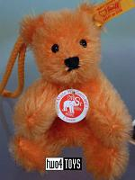 Steiff 027840 MINIATURE TEDDY ORANGE MOHAIR KEY RING