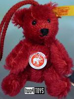 Steiff 027857 MINIATURE TEDDY RED MOHAIR KEY RING