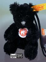 Steiff 027888 MINIATURE TEDDY BLACK MOHAIR KEY RING 2003
