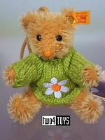 Steiff 028236 MINIATURE TEDDY FLOWER MOHAIR KEY RING 2003
