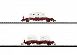Minitrix 15631 NS DUTCH LOW SIDE CAR SET W. HOUSE TRAILERS 2005