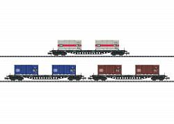 Minitrix 15961 Sgs 693 CONTAINER TRANSPORT FREIGHT CAR SET2018