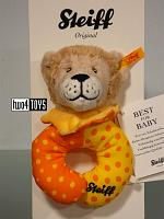 Steiff 240638 LEO LION GRIP TOY WITH RATTLE CUDDLY SOFT