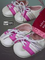 2018 Gotz 3401688 WHITE PINK LEATHERLOOK TENNIS SHOES SIZE M/XL