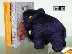 Steiff 606250 ELEPHANT 1909 DARK BLUE MOHAIR BOOKEND 2006
