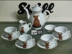 Steiff 613999 DOLL'S TEA SET PORCELAIN W. TEDDY PB55 PATERN 2002