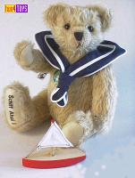 Hermann 13268-9 Ship Ahoy Sailor Teddy with Wooden Ship