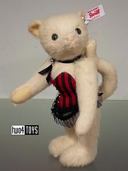 Steiff 021190 PUSSY CAT LADY TED CASINO WHITE ALPACA 2015