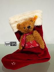 Steiff 026751 TEDDY BEAR WITH RED CHRISTMAS STOCKING 2017