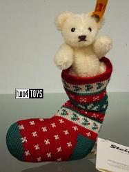 Steiff 026768 MINI TEDDY BEAR WHITE IN CHRISTMAS SOCK 2017