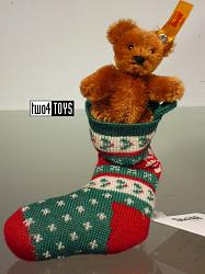 Steiff 026775 MINI TEDDY BEAR RUSSET IN CHRISTMAS SOCK 2017