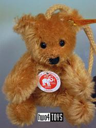 Steiff 027871 MINIATURE TEDDY REDDISH BROWN MOHAIR KEY RING 2003