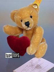 Steiff 027901 MINI TEDDY BEAR w. HEART SIGNED BY TWEED ROOSEVELT