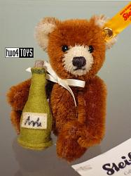 Steiff 028908 MINI TEDDY BEAR WITH CHAMPAGNE BOTTLE 2015