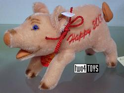 Steiff 035197 LUCKY PIG PINK MOHAIR HAPPY 2000