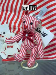 Steiff 035838 SELECTION KEYRING TEDDY BEAR RED STRIPED