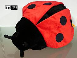 Steiff 067044 LADYBIRD WITH ZIPPER BAG CUDDLY SOFT FUR