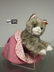 Steiff 099304 CINDY GREY TABBY CAT IN HEART BAG 2017