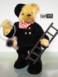 2001 Hermann 22408-0 CHIMNEY SWEEP GOOD LUCK TEDDY BEAR WITH PIG