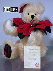 2002 Hermann 22437-3 CHRISTMAS POINSETTIA TEDDY BEAR