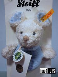 Steiff Baby 237669 SNIFFY MOUSE GRIP TOY ORGANIC COTTON BLUE