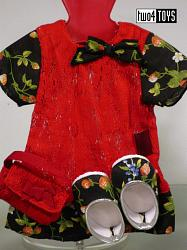 Gotz 3402189 STRAWBERRY TIME DRESS W. BAG & SHOES