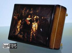 HIGH GLOSS WOODEN MUSIC BOX REMBRANDT NIGHT WATCH